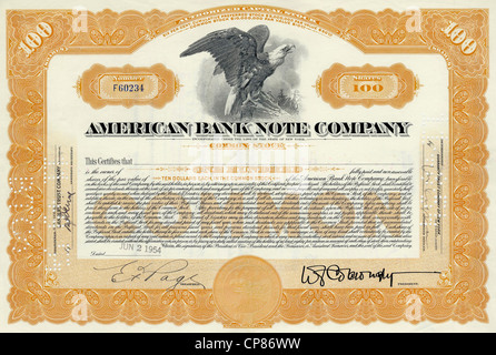 Historic share certificate, detail of the vignette, eagle, American Bank Note Company, ABNC, printing office for - Stock Image