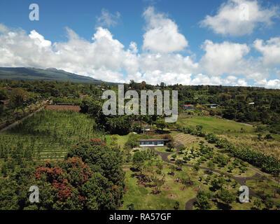 Aerial view of volcano slopes Big Island Hawaii - Stock Image