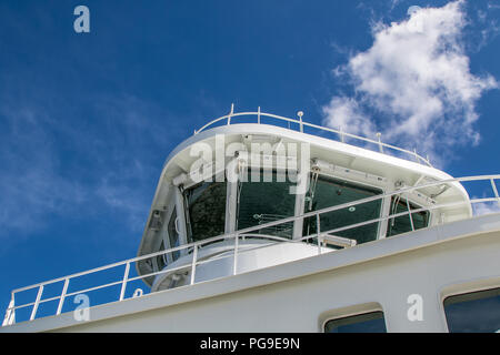 The bridge of a ferry boat. - Stock Image