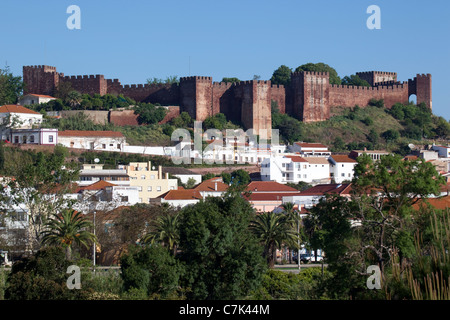 Portugal, Algarve, Silves, View of Castle & Town - Stock Image