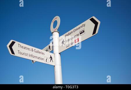 Sheffield, City information sign, England - Stock Image