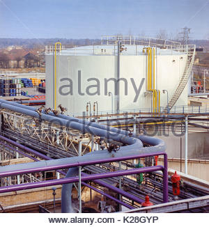 Chemical storage tank at North Thames Gasworks, Slough, Berkshire UK – 1970 - Stock Image