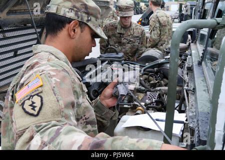 A paratrooper with 6th Brigade Engineer Battalion checks his vehicle's oil level during preventative maintenance 27 Aug., 2018, at Joint Base Elmendorf-Richardson, Alaska. (U.S. Army photo by Sgt. Alexander Skripnichuk) - Stock Image