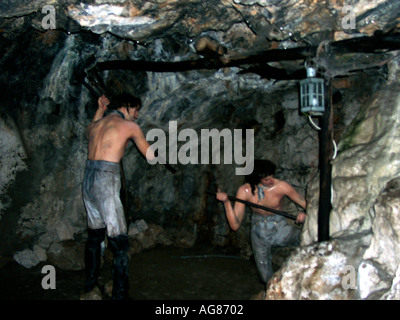 Wax manikins, figures, statues, of the men digging the Great Siege Tunnels, Gibraltar, Europe,  in the 1780s, 18th - Stock Image