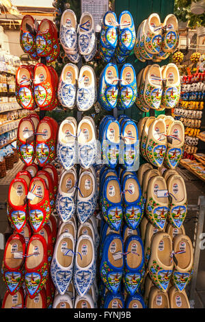 Traditional wooden shoes, Clogs, Amsterdam flower market Amsterdam, Netherlands - Stock Image