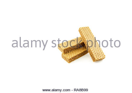 tasty chocolate wafers snack for food isolated white background - Stock Image