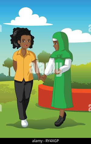 A vector illustration of Two Teenagers in a Park - Stock Image