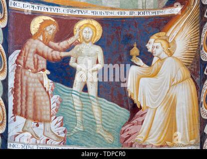 COMO, ITALY - MAY 9, 2015: The old fresco of Betray of Jesus with the Judas kiss in church Basilica di San Abbondio . - Stock Image