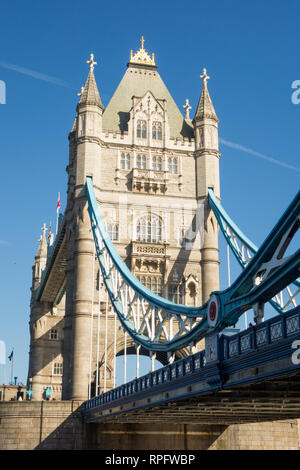 Tower Bridge over the river Thames England London UK - Stock Image
