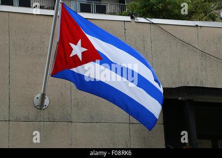 Flag New Cuban embassy Washington D C - Stock Image