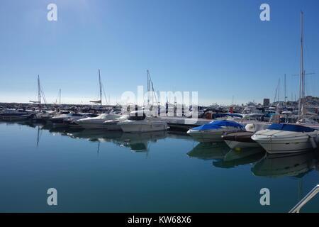 Yachts, Puerto Banus Marina, Marbella, Costa del Sol, Spain - Stock Image