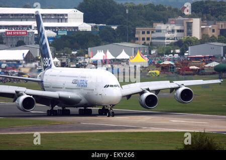 Airbus A380 at Farnborough International Airshow 2015 - Stock Image
