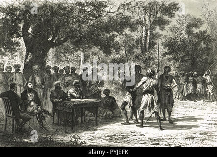 A court in the Jungle, India, 19th Century - Stock Image