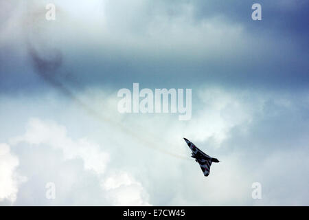 Avro 698 Vulcan B2  strategic bomber display at Farnborough International Airshow 2014 - Stock Image