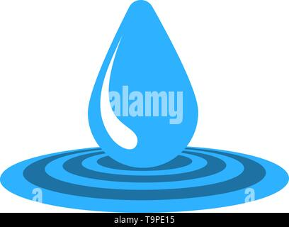 Water Drop Icon. Flat Color Design. Vector Illustration. - Stock Image