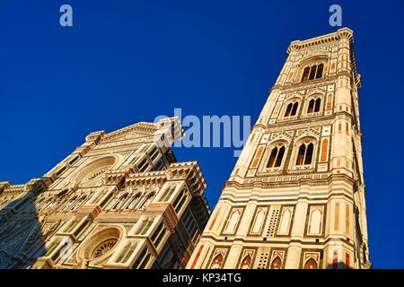 Giotto's Campanile is a free-standing campanile that is part of the complex of buildings that make up Florence Cathedral - Stock Image
