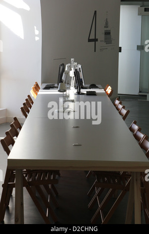 empty corporate table meeting - Stock Image
