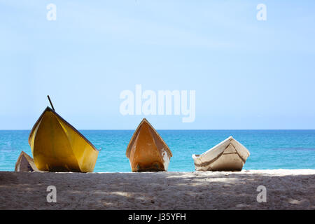 Three boats at sea backdrop - Stock Image