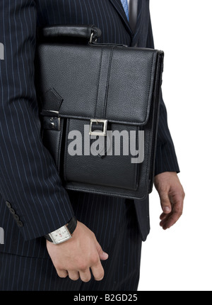 man holding leather bag on isolated background - Stock Image