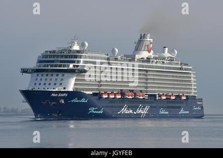 Mein Schiff 6 inbound for Kiel - Stock Image