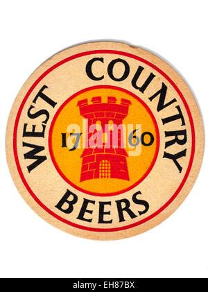 Vintage Beermat Advertising West Country Beers - Stock Image