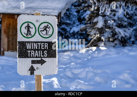 Winter trails sign for snowshoeing and cross country skiing - Stock Image