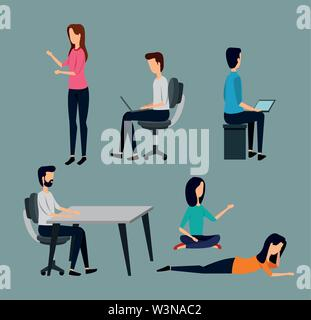 set of businessmen and businesswoman teamwork strategy - Stock Image