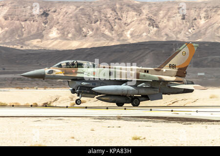 """Israeli Air Force (IAF) General Dynamics F-16I at take off.  Photographed at the  """"Blue-Flag"""" 2017, an international - Stock Image"""