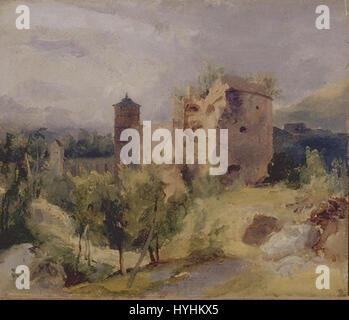 Carl Blechen   Der zersprengte Turm des Heidelberger Schlosses - Stock Image