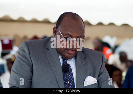 Abidjan, Ivory Coast - August 3, 2017: congratulatory speech of an authority at the assembly during the ceremony at the marine school - Stock Image