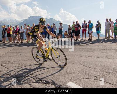 Romain Sicard Tour de France 2018 cycling stage 11 La Rosiere Rhone Alpes Savoie France - Stock Image