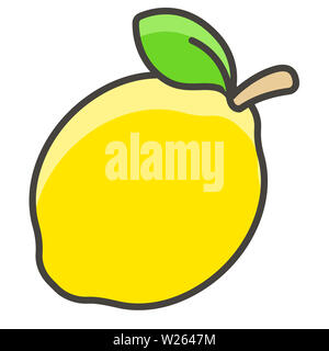 lemon fruit food natural sour leaf illustration vitamin yellow - Stock Image