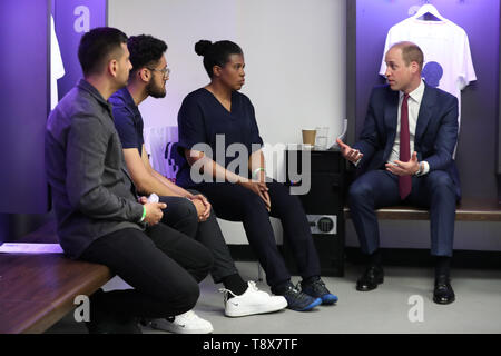 The Duke of Cambridge at the launch of a new mental health campaign at Wembley Stadium in London. - Stock Image