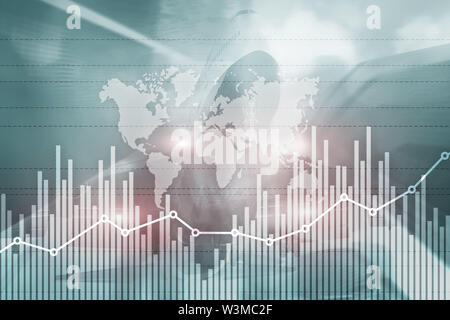 Business finance growth graph chart analysing diagram trading and forex exchange concept double exposure mixed media - Stock Image