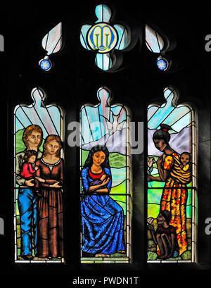'Motherhood' window by Sarah Sutton, 2009. Church of Saint Mark. Natland, Cumbria, England, United Kingdom, Europe. - Stock Image