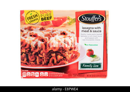 Nestle Brand Stouffer's Lasagna with Meat & Sauce family sized ready meal frozen prepared - Stock Image