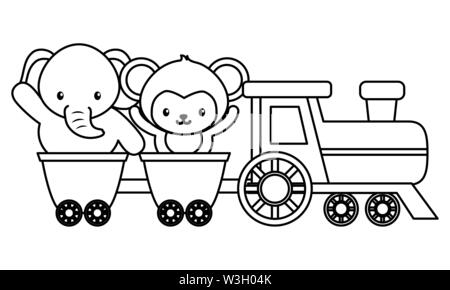 cute little monkey and elephant in train - Stock Image