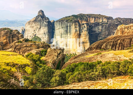 Panoramic view on Meteora in Trikala, Greece. - Stock Image