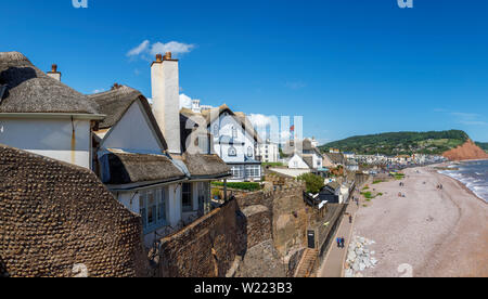 Historic thatched cottages with a view over the sea, beach and coastline of Sidmouth, a popular south coast seaside town in Devon, south-west England - Stock Image