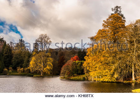 Late November afternoon at Stourhead Gardens - Stock Image