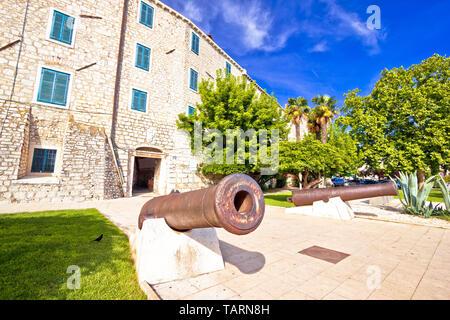 Town of Sibenik historic architecture and iron cannon view, Dalmatia region of Croatia - Stock Image