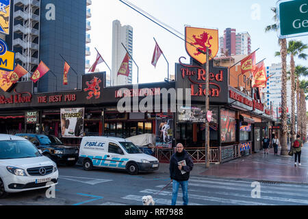 Benidorm, Costa Blanca, Spain, 25th February 2019. Two staff members at the Beachcomber pub in Benidorm New Town on the British square. Two British tourists have been arrested in relation to the alleged attack. Seen here is the Red Lion Pub which is not connected to the reported incident.  Credit: Mick Flynn/Alamy Live News - Stock Image