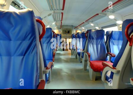 Interior of double decker regional train in Turin, Piedmont, Italy - Stock Image