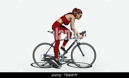Girl with long hair on a bicycle, athletic woman in sports outfit riding a bike on white background, side view, 3D rendering - Stock Image