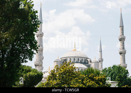 Beautiful view of the Blue mosque in Istanbul in Turkey. Mosque on Sultanahmet square. - Stock Image
