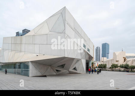Israel, Tel Aviv-Yafo - 30 March 2019: Herta and Paul Amir building designed by Preston Scott Cohen part of the Tel Aviv museum of art - Stock Image
