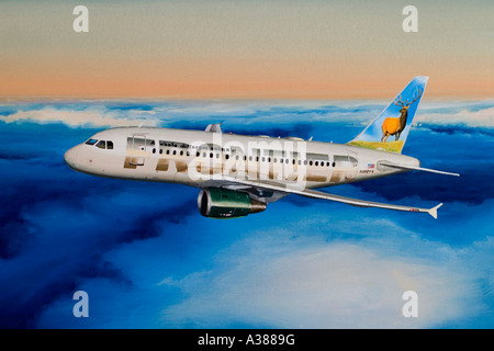 Gouache painting of Airbus A318 Frontier Airlines - Stock Image