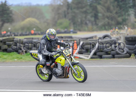 East Fortune, UK. 14 April, 2019. Allan McCleary during a CB500 race at East Fortune Raceway, in the opening rounds of the 2019 Scottish Championships, Melville Open and Club Championships. Credit: Roger Gaisford/Alamy Live News - Stock Image
