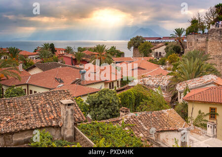 Turkey View Over The Houses Of Kaleici Antalya - Stock Image