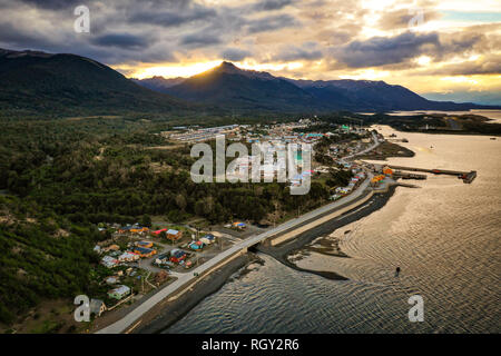 Sunset over Puerto Williams, Chile - Stock Image
